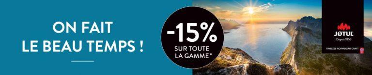 Publicité promotionnelle Jotul avec moins 15% sur toute la gamme des produits