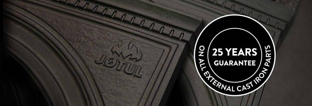 Publicité de la marque Jotul avec 25 ans de garanties