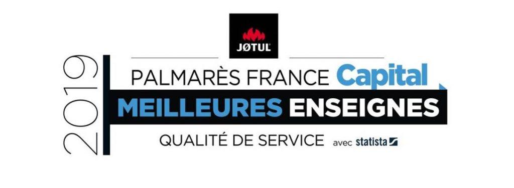 Publicité de la marque Jotul, palmarès France Capital 2019, meilleures enseignes qualité de service avec statista